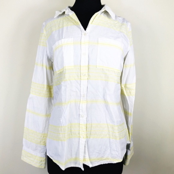 Merona Tops - Merona White & Yellow Stripe Button Front Shirt